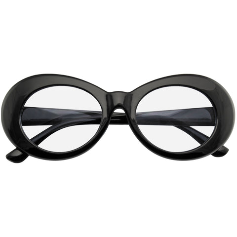Oval Clear Lens Glasses | Emblem Eyewear - Retro Flat Round 1990's Fashion Clout Goggle Oval Clear Lens Eyewear Glasses