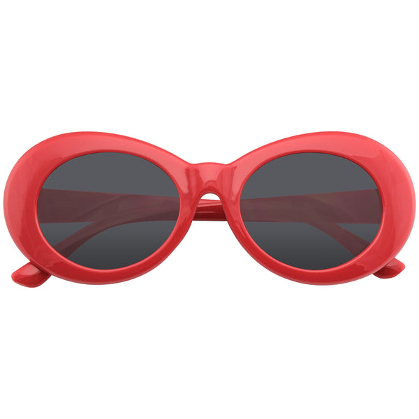 Red Oval Sunglasses | Emblem Eyewear - Retro Round Oval Clout Round 90's Gradient Lens Sunglasses