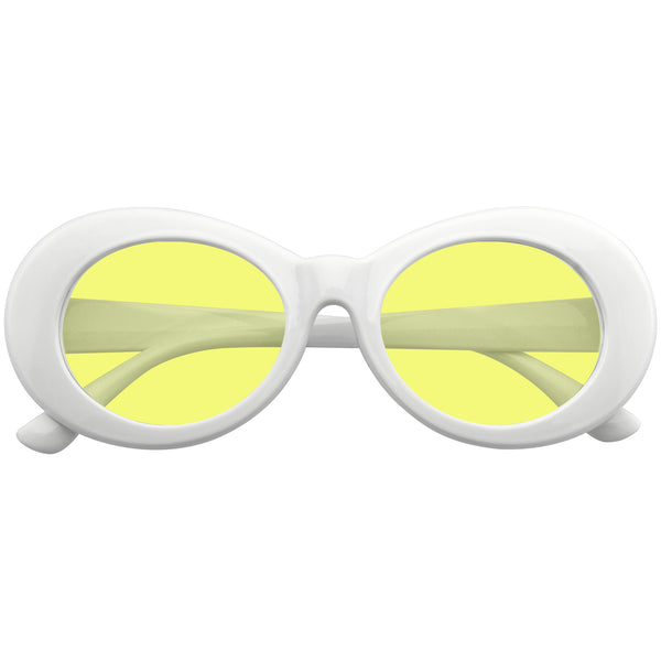 Oval Sunglasses | Emblem Eyewear - Oversize Round Goggle Retro Tapered Arms Clout Oval Color Tone White Sunglasses