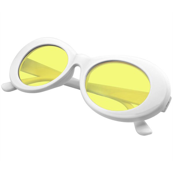 Yellow Oval Sunglasses | Emblem Eyewear - Oversize Round Goggle Retro Tapered Arms Clout Oval Color Tone White Sunglasses