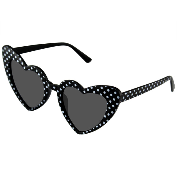 Heart Sunglasses | Polka Dot Cat Eye Womens Fashion Mod Super Cat Heart Shape Sunglasses