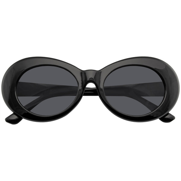 Black Oval Sunglasses | Emblem Eyewear - Retro Round Oval Clout Round 90's Gradient Lens Sunglasses