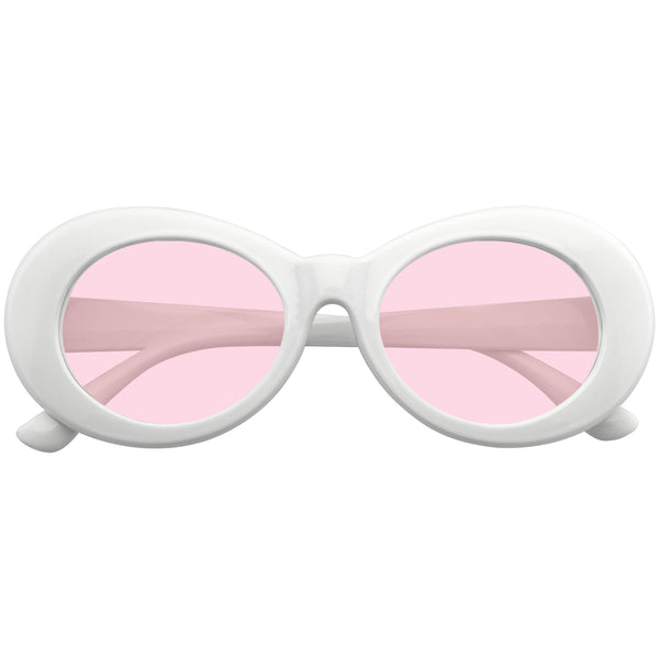 Pink Oval Sunglasses | Emblem Eyewear - Oversize Round Goggle Retro Tapered Arms Clout Oval Color Tone White Sunglasses