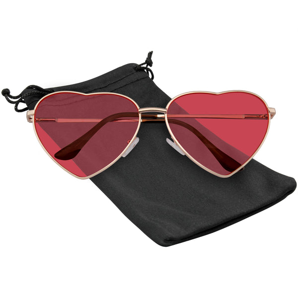 Heart Sunglasses Shaped Retro Festival Color Tinted Lenses Metal Frame Sunglasses