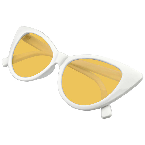 White Retro Cat Eye Sunglasses | Retro 1990's Color Tone Fashion Mod White Super Cat Eye Sunglasses