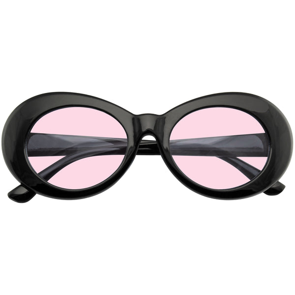 Oval Sunglasses | Retro Round 1990's Fashion Clout Goggle Oval Color Tone Black Sunglasses