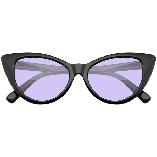 Retro Cat Eye Glasses | Retro 90s Color Tone Fashion Mod Black Super Cat Eye Sunglasses