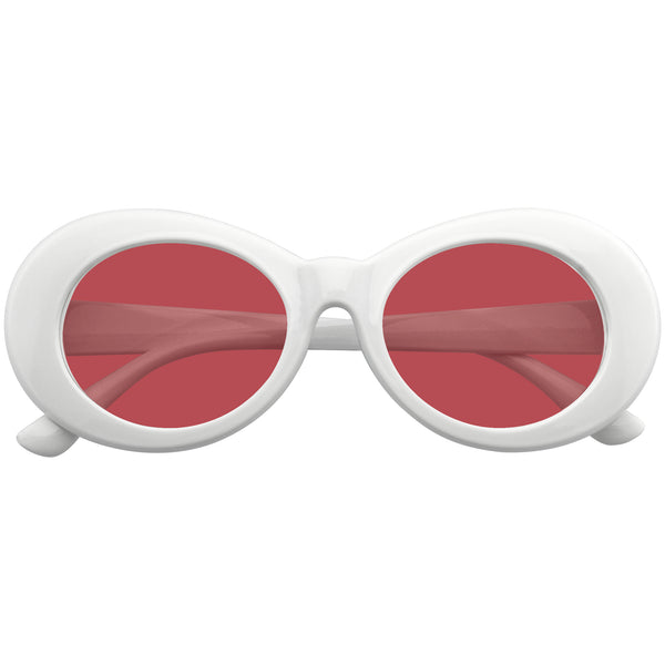 Red Oval Sunglasses | Emblem Eyewear - Oversize Round Goggle Retro Tapered Arms Clout Oval Color Tone White Sunglasses