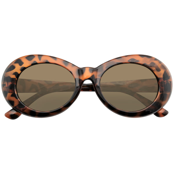 Tortoise Brown Oval Sunglasses | Emblem Eyewear - Retro Round Oval Clout Round 90's Gradient Lens Sunglasses