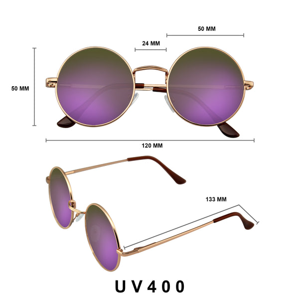 Retro Reflective Colored Lenses | Round Sunglasses Vintage Mirror Lens Round Hippie Sunglasses
