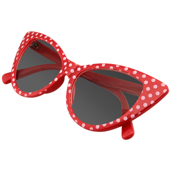 Polka Dot Cat Eye Womens Fashion Mod Super Cat Sunglasses w/ CASE
