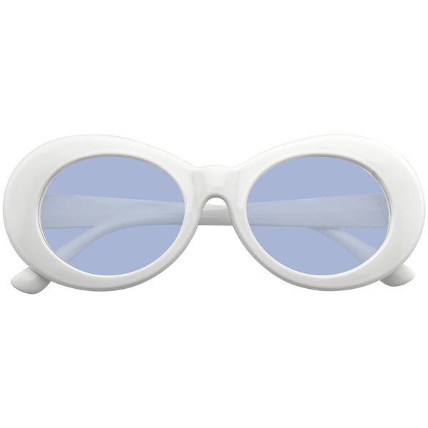 Blue Oval Sunglasses | Emblem Eyewear - Oversize Round Goggle Retro Tapered Arms Clout Oval Color Tone White Sunglasses
