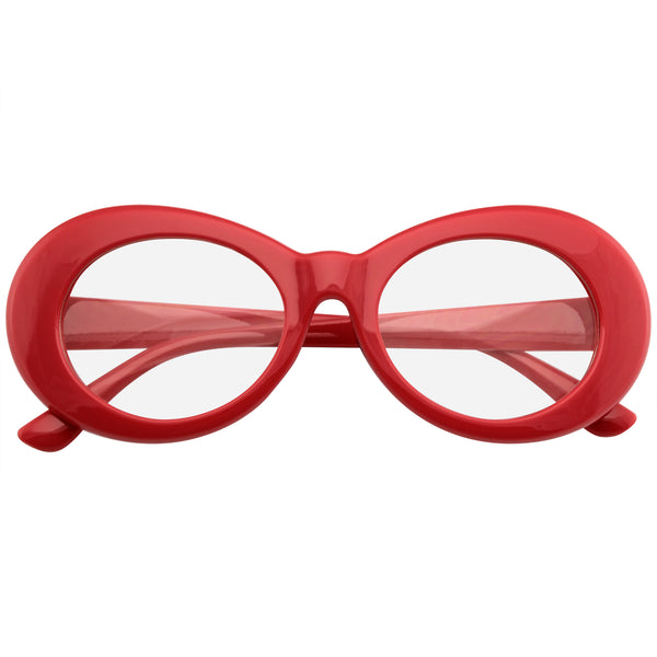 Red Oval Clear Lens Glasses | Emblem Eyewear - Retro Flat Round 1990's Fashion Clout Goggle Oval Clear Lens Eyewear Glasses