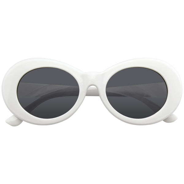 White Oval Sunglasses | Emblem Eyewear - Retro Round Oval Clout Round 90's Gradient Lens Sunglasses