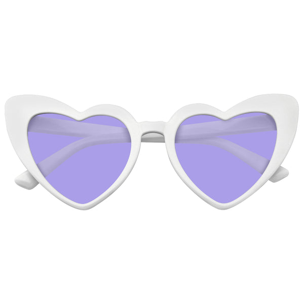 Cat Eye Heart Shape Sunglasses Retro Festival Color Tinted Lenses White Sunglasses