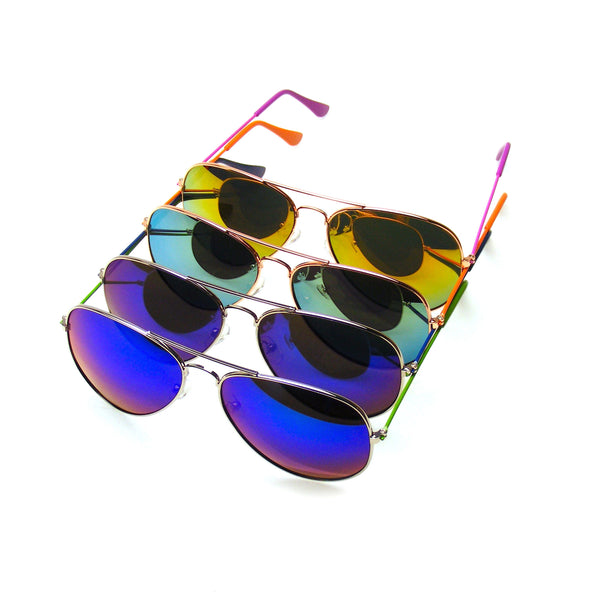 Designer Mirrored Aviator Sunglasses | 4 Pair Pack BUNDLE Sunglasses Flash Mirror Mirrored Aviator Sunglasses Shades