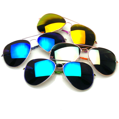 4 Pair Pack BUNDLE Sunglasses Flash Mirror Mirrored Aviator Sunglasses Shades
