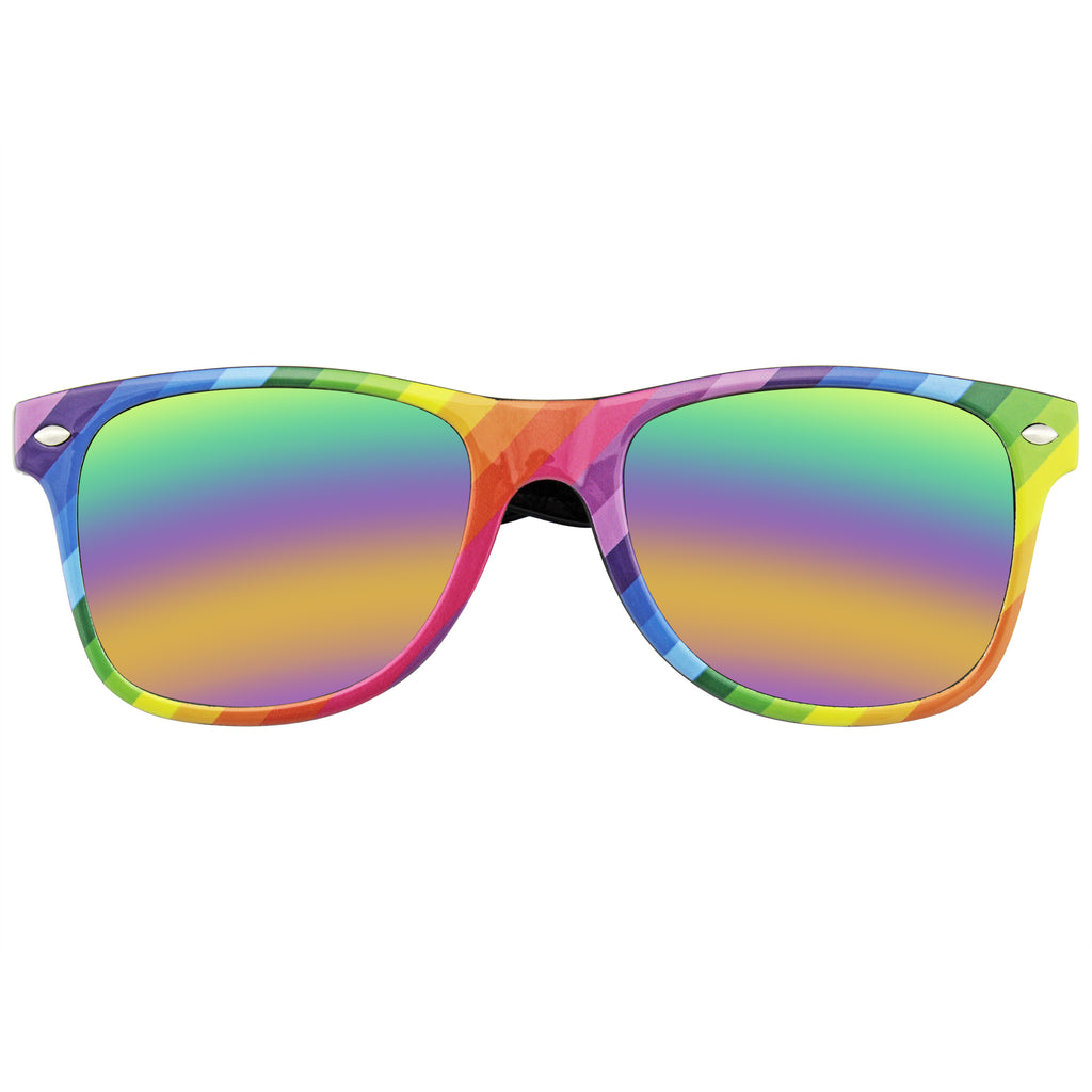 Horned Rim Retro 80s Party Festival Rainbow Mirrored Sunglasses