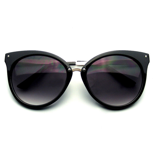 Emblem Eyewear Pointed Horn Rimmed Indie Retro Cat Eye Sunglasses Metal Studs Black