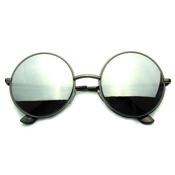 Black Round Metal REVO Mirrored Lens Sunglasses Shop Emblem Eyewear!