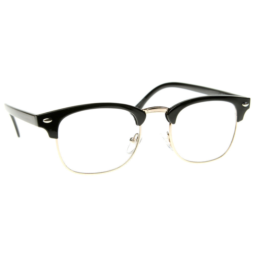 Black Brown Tortoise Clubs master Half Frame Metal Frame ...