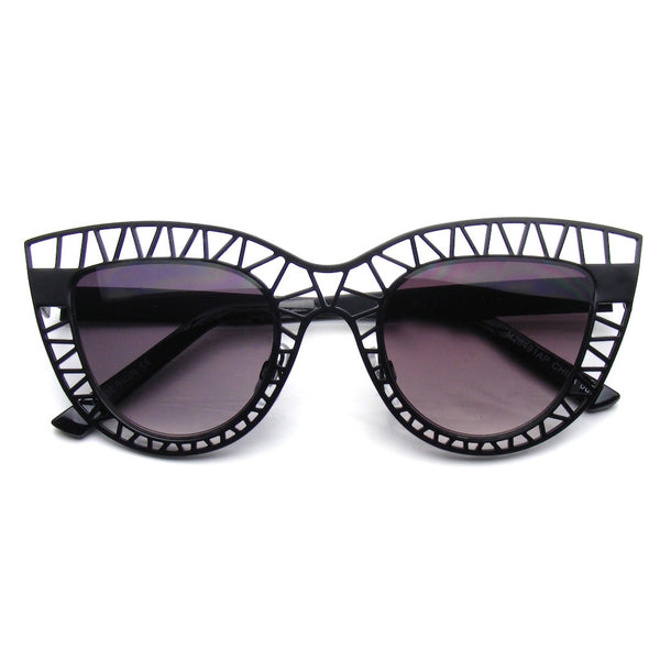 Black Womens Indie Cat Eye Sunglasses Trendy Fashion Metal Cut Out Shop Emblem Eyewear!