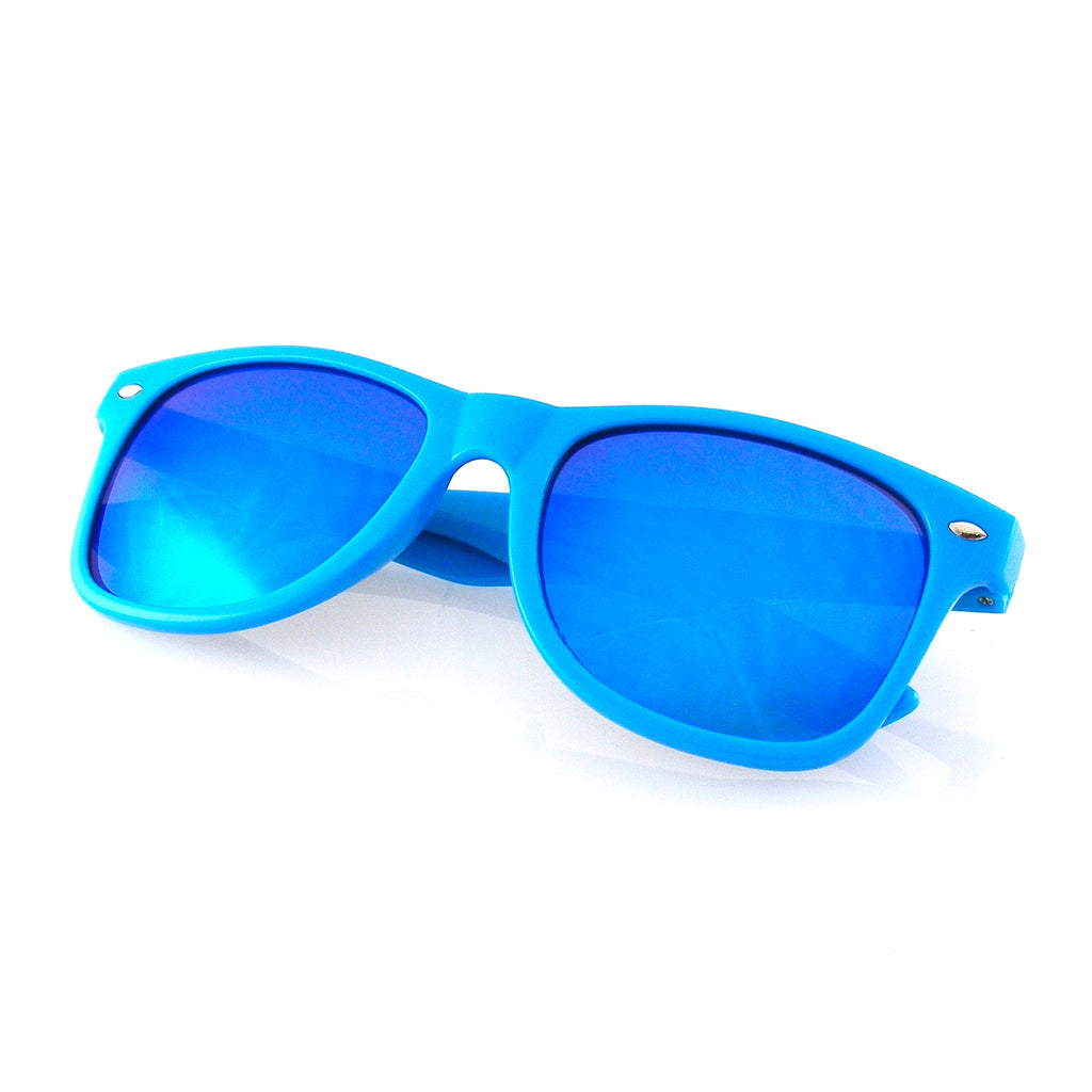 Emblem Eyewear Flash Mirror Reflective Lens Neon Horned Rim Sunglasses