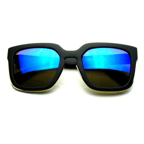 Hipster Flash Mirror | Blue Horned Rim Hipster Flash Revo Thick Keyhole Sunglasses Shop Emblem Eyewear!