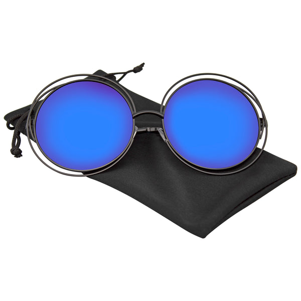 Emblem Eyewear - Round Sunglasses Double Wire Big Oversize Boho Circle Lens Sunglasses