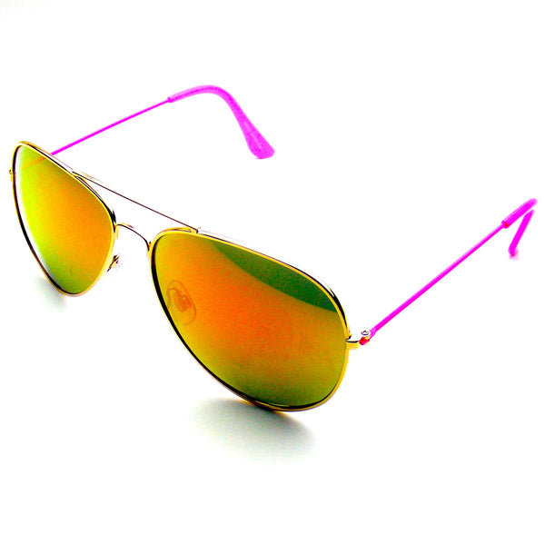 Pink Reflective Revo Flash Full Mirrored Aviator Sunglasses Shop Emblem Eyewear!