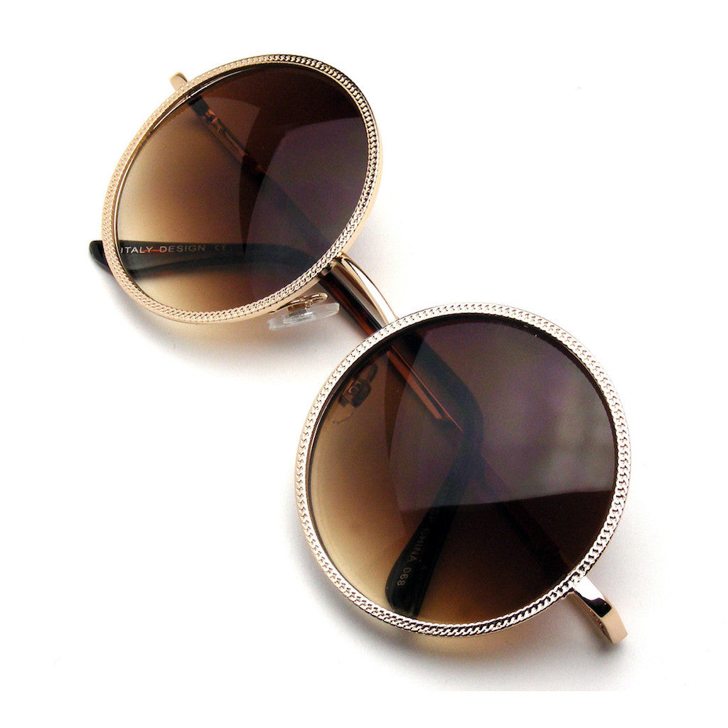 Gold Designer Round Metal Fashion Inspired Sunglasses Emblem Eyewear