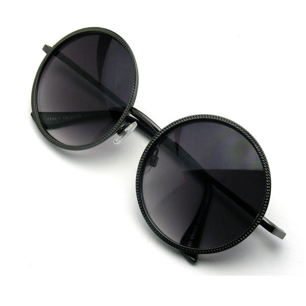 Black Designer Round Metal Fashion Inspired Sunglasses Emblem Eyewear