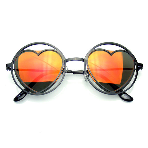 Emblem Eyewear Womens Round Metal Heart Shape Hippie Circle Sunglasses Emblem Eyewear