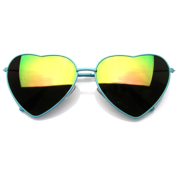 Emblem Eyewear Cute Womens Metal Heart Shape Flash Revo Mirrored Sunglasses Green
