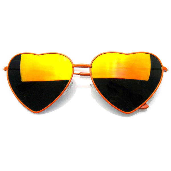 Emblem Eyewear Cute Womens Metal Heart Shape Flash Revo Mirrored Sunglasses Orange