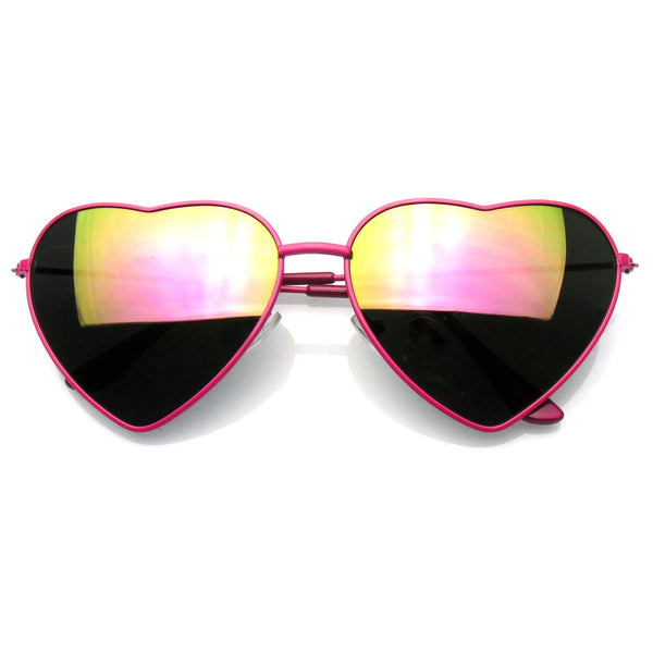 Emblem Eyewear Cute Womens Metal Heart Shape Flash Revo Mirrored Sunglasses Pink