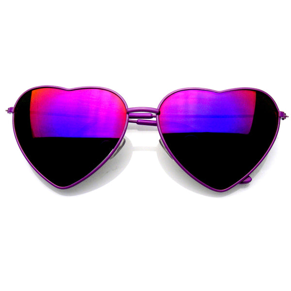Emblem Eyewear Cute Womens Metal Heart Shape Flash Revo Mirrored Sunglasses Purple