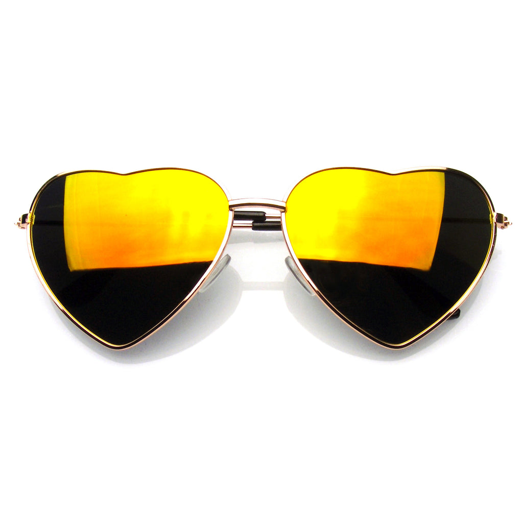 8f56e35f77 Emblem Eyewear Cute Womens Metal Heart Shape Flash Revo Mirrored Sunglasses  Red Fire