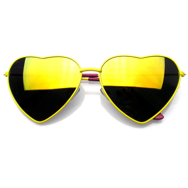 Emblem Eyewear Cute Womens Metal Heart Shape Flash Revo Mirrored Sunglasses Yellow