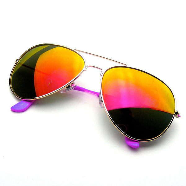 Emblem Eyewear Reflective Classic Premium Revo Flash Full Mirrored Aviator Sunglasses Purple