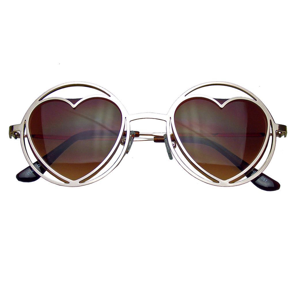 6e3e8bddff9cb Emblem Eyewear Womens Round Metal Heart Shape Hippie Circle Sunglasses  Emblem Eyewear