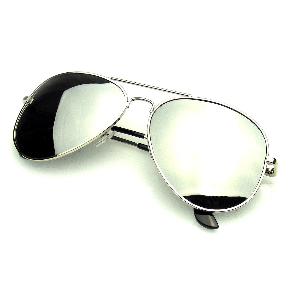 40e7840ec37ff Silver Polarized Aviator Sunglasses Shop Emblem Eyewear!