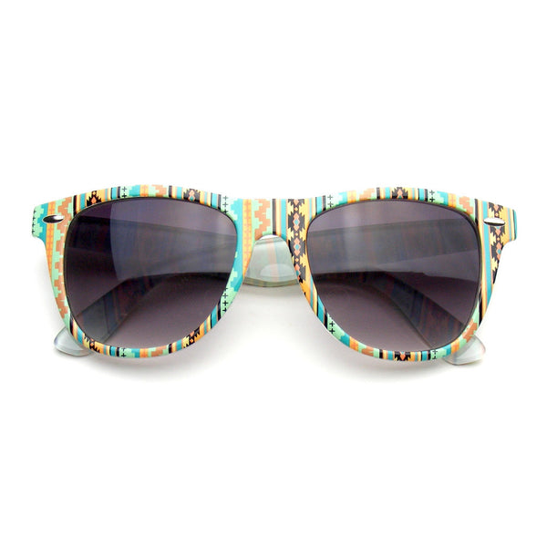 Geometric Pattern Gray Sunglasses Retro Indie Fun Color Pattern Print Wayfarer Sunglasses Shop Emblem Eyewear!