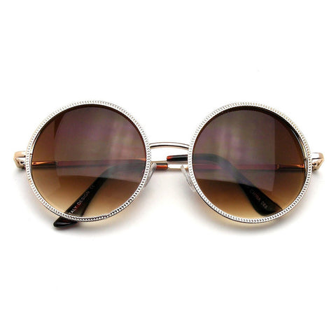 Vintage Small Round Sunglasses | Gold Designer Round Metal Fashion Inspired Sunglasses Emblem Eyewear