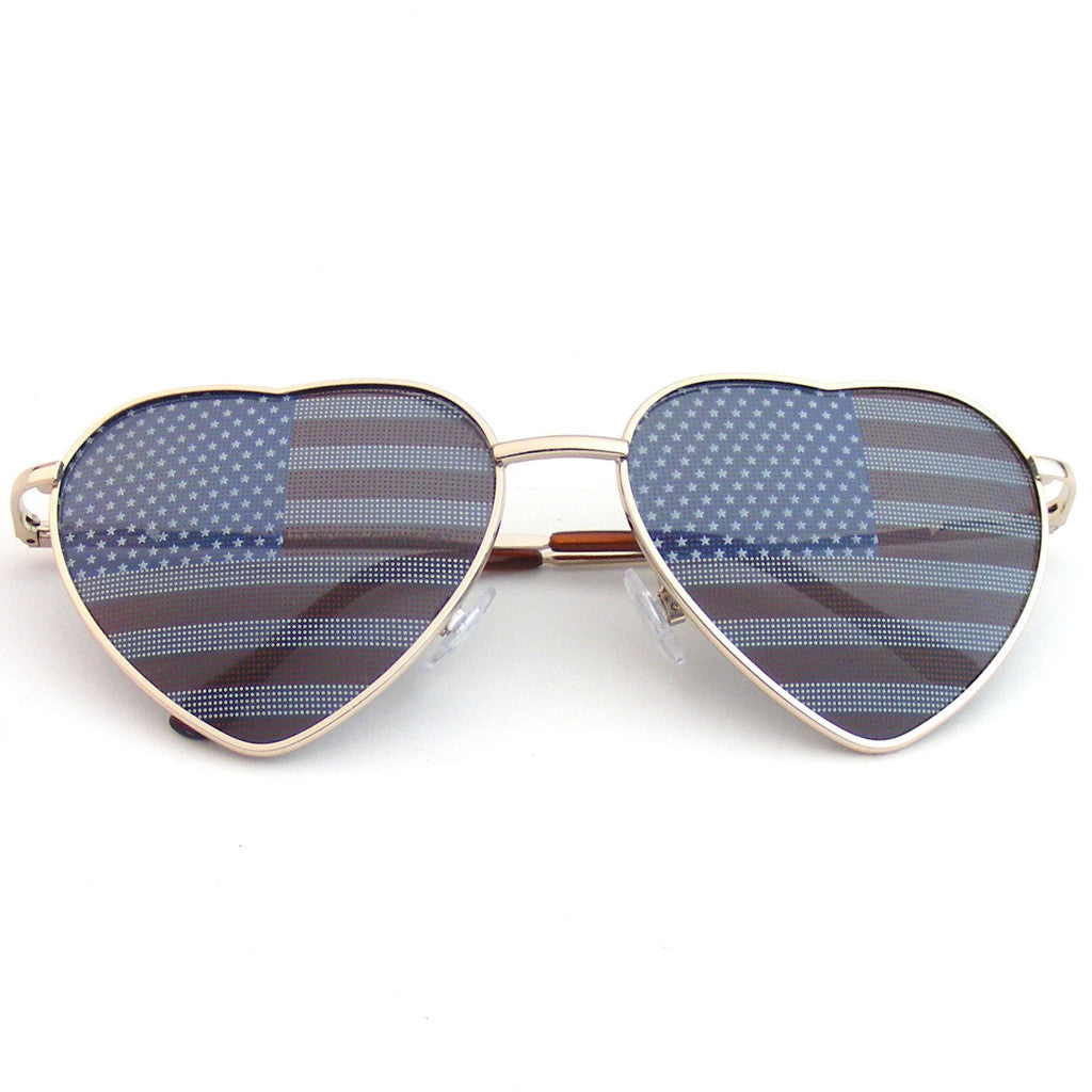 eaa71cd5de0 Gold Heart Independence Day American Flag Sunglasses Shop Emblem Eyewear!