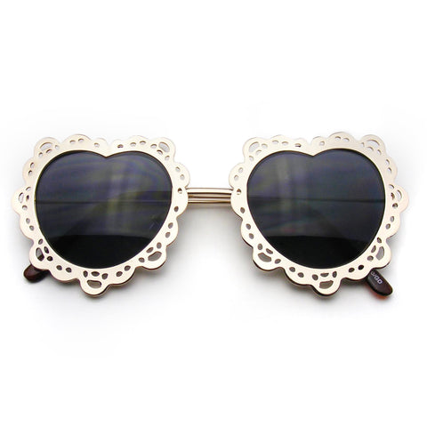 Womens Metal Boho Cute Gold Heart Shape Sunglasses Shop Emblem Eyewear!