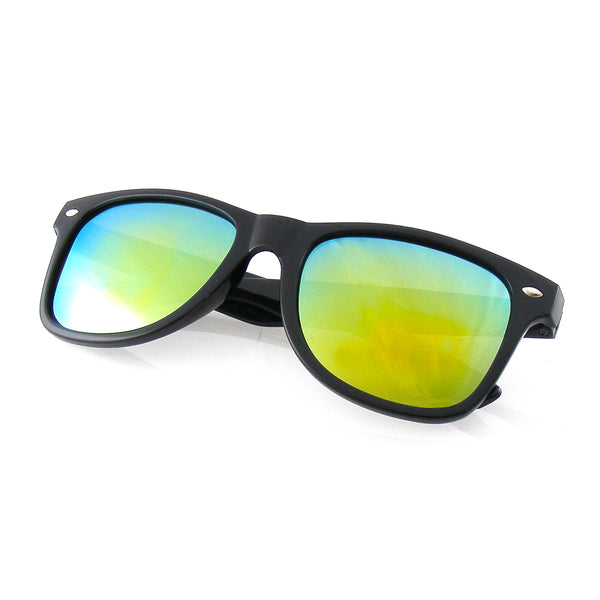Emblem Eyewear Black Flash Reflective Polarized Horned Rim Sunglasses