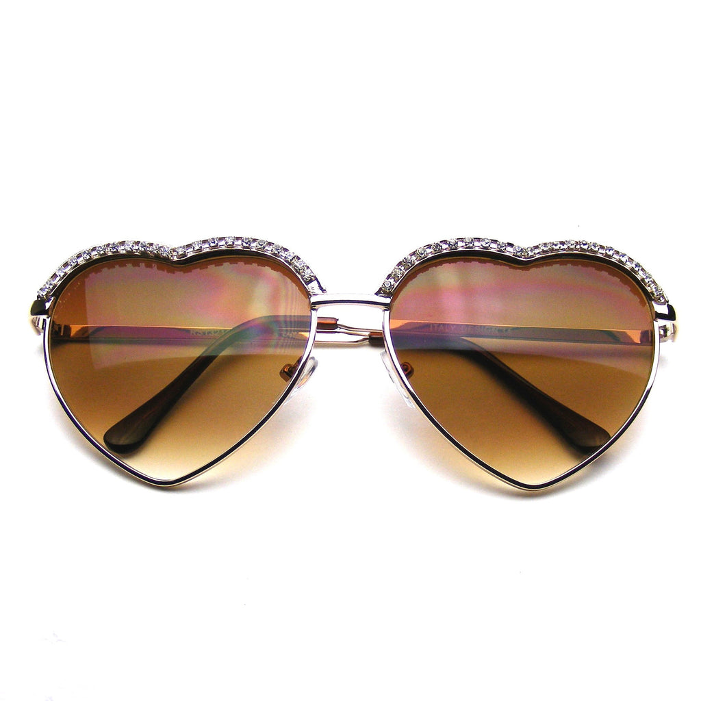 Cute Chic Heart Shape Glam Rhinestone Aviator Sunglasses Shop Emblem Eyewear!