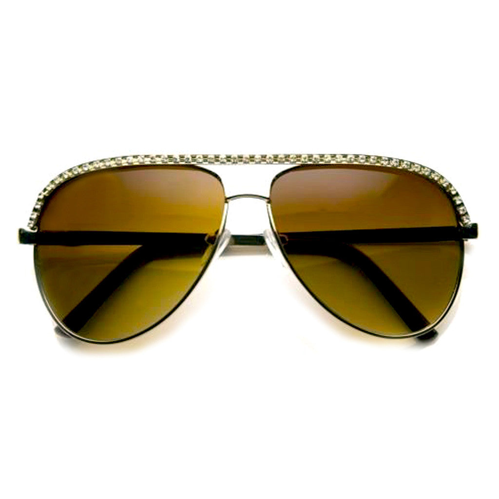 Gold Rhinestones Womens Aviator Metal Sunglasses Shop Emblem Eyewear