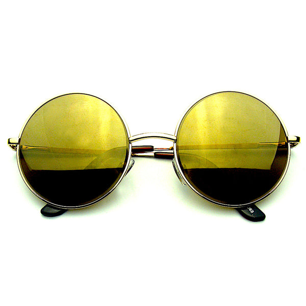 Gold Round Metal REVO Mirrored Lens Sunglasses Shop Emblem Eyewear!